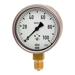 """Manometr pro nízké tlaky MKS 100mm 1/2"""" -160 až 0 mbar"""