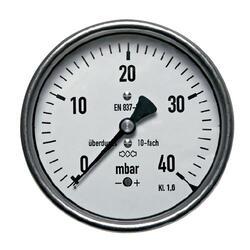"""Manometr pro nízké tlaky MKZ 160mm 1/2"""" 0-25mbar"""