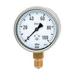 """Manometr pro nízké tlaky MKS 63mm 1/4"""" -600 až 0 mbar"""