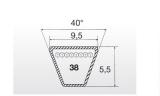 Klínový řemen 10x1016La XDV38/400 XDV2 zahradní - 2