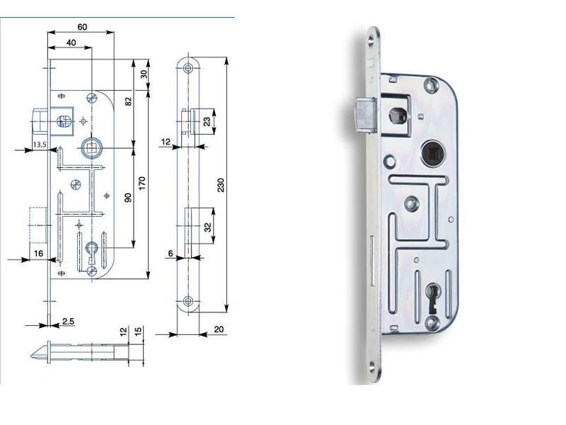 Zámek zadlabací 90/60 02-03 P-L dozický klíč BZn