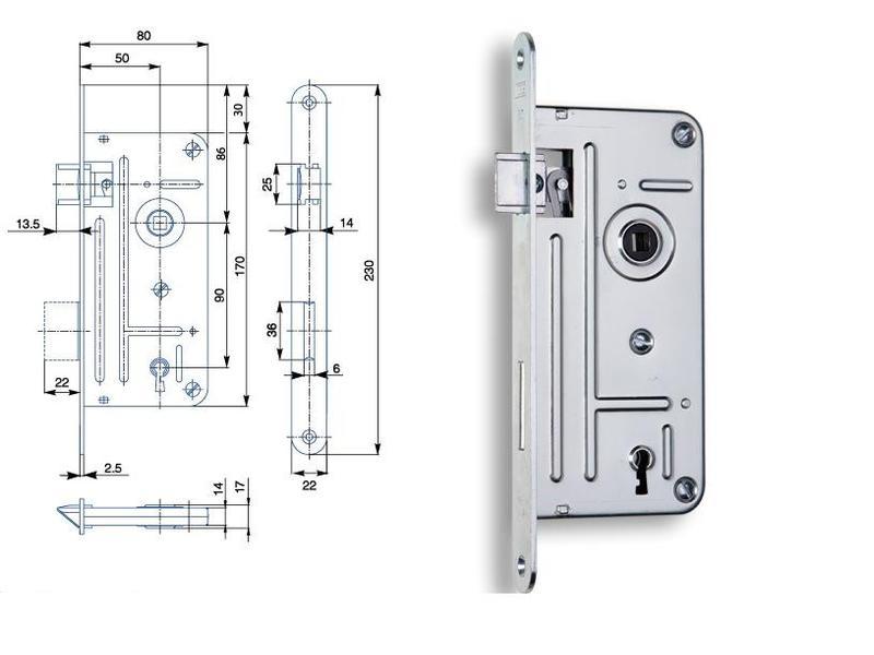 Zámek zadlabací 90/80 P-L dozický klíč BZn