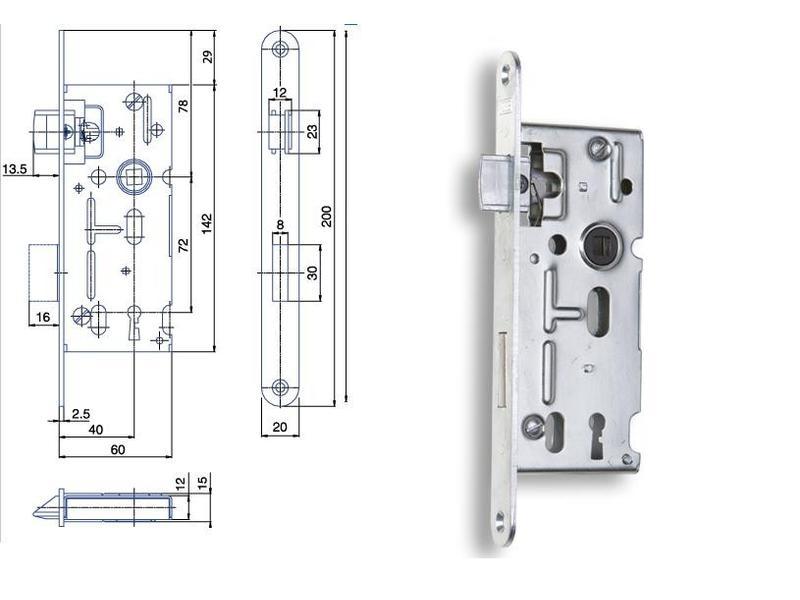 Zámek zadlabací 72/60 K104 P-L dozický klíč BZn